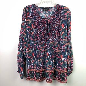 Tolani Floral Blouse Blue Small